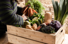 Seasonal vegetable box filled with local cornish produce