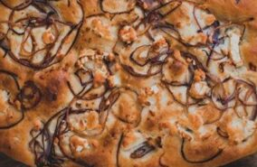 Baker toms goats cheese and red onion focaccia