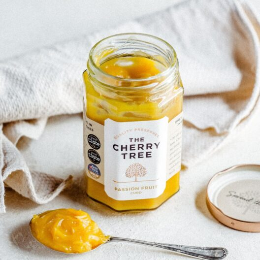 Cherry tree passion fruit curd