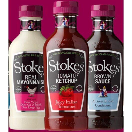 Stokes real ketchup, mayonaise and brown sauce