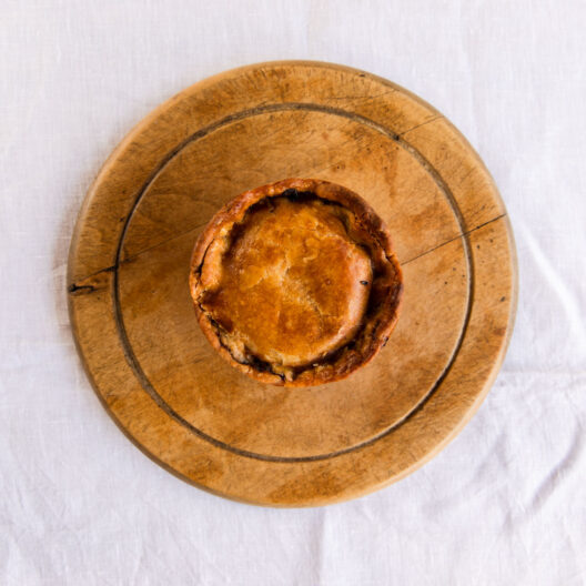 Suculent festive penny's pies delivered to our shop three times a week