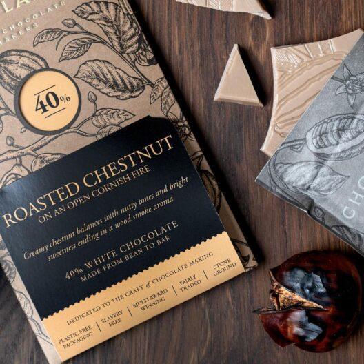 Chocolarder festive roasted chestnut on an open fire white chocolate