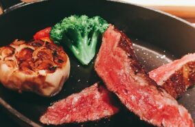 Succulent rib eye steak