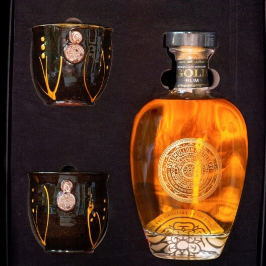 Rosemullion Rum 70cl gift box with drinking glasses sold at baileys country store