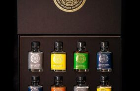 Rosemullion assorted gin and rum gift box containing 8 x 5cl bottles.